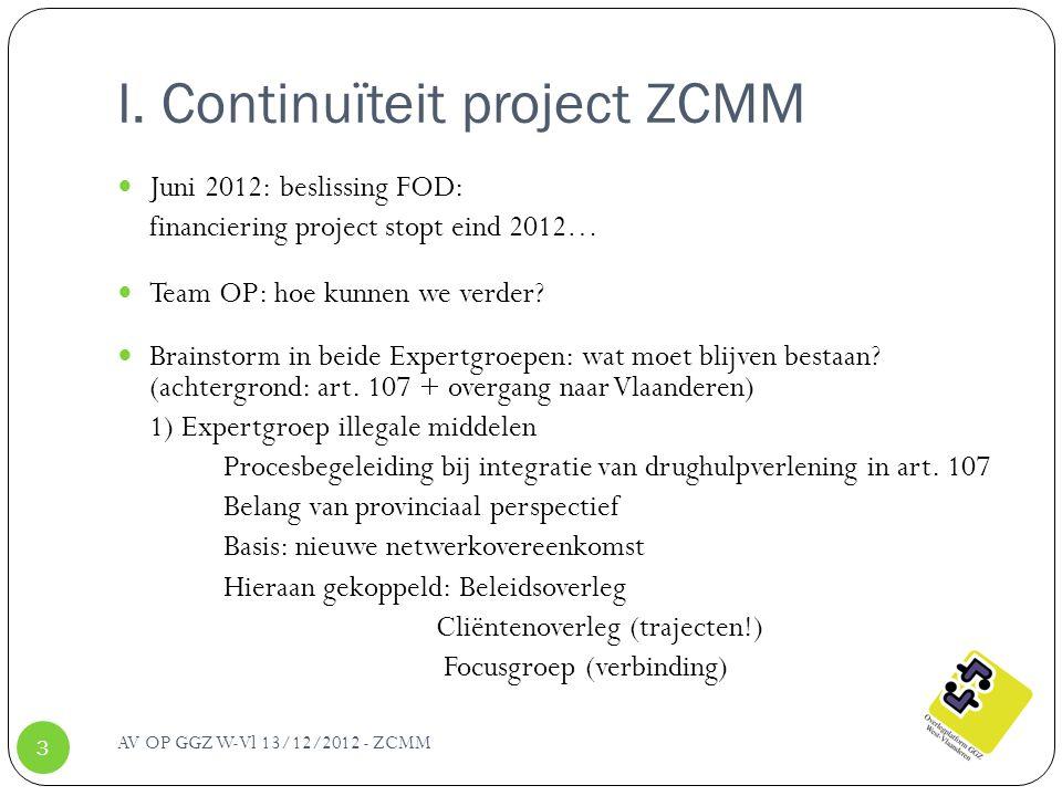 I. Continuïteit project ZCMM Juni 2012: beslissing FOD: financiering project stopt eind 2012… Team OP: hoe kunnen we verder? Brainstorm in beide Exper