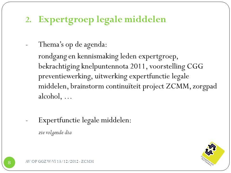 AV OP GGZ W-Vl 13/12/2012 - ZCMM 8 2. Expertgroep legale middelen - Thema's op de agenda: rondgang en kennismaking leden expertgroep, bekrachtiging kn