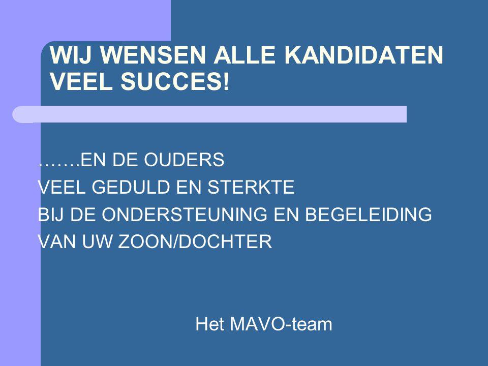 WIJ WENSEN ALLE KANDIDATEN VEEL SUCCES! …….EN DE OUDERS VEEL GEDULD EN STERKTE BIJ DE ONDERSTEUNING EN BEGELEIDING VAN UW ZOON/DOCHTER Het MAVO-team