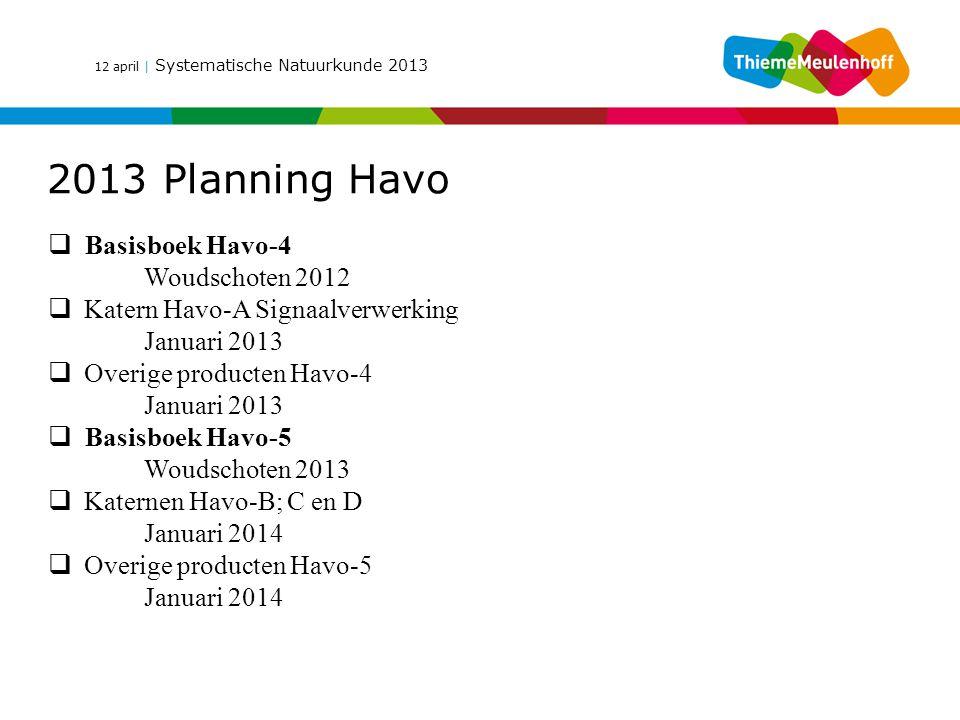 12 april | Systematische Natuurkunde 2013 2013 Planning Havo  Basisboek Havo-4 Woudschoten 2012  Katern Havo-A Signaalverwerking Januari 2013  Over