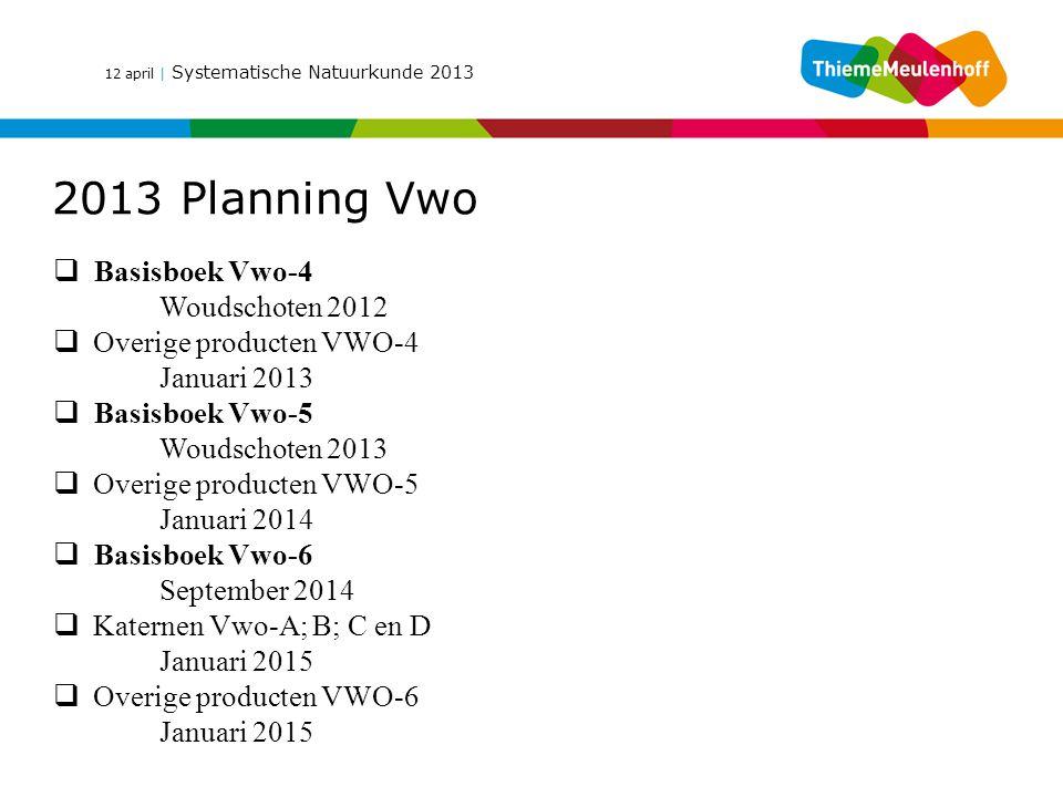 12 april | Systematische Natuurkunde 2013 2013 Planning Vwo  Basisboek Vwo-4 Woudschoten 2012  Overige producten VWO-4 Januari 2013  Basisboek Vwo-