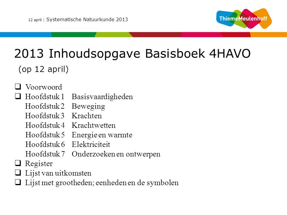 12 april | Systematische Natuurkunde 2013 2013 Inhoudsopgave Basisboek 4HAVO (op 12 april)  Voorwoord  Hoofdstuk 1Basisvaardigheden Hoofdstuk 2Beweg