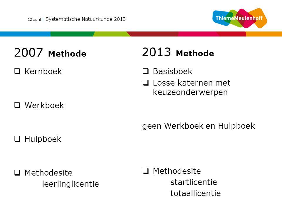 12 april | Systematische Natuurkunde 2013  Kernboek  Werkboek  Hulpboek  Methodesite leerlinglicentie  Basisboek  Losse katernen met keuzeonderw