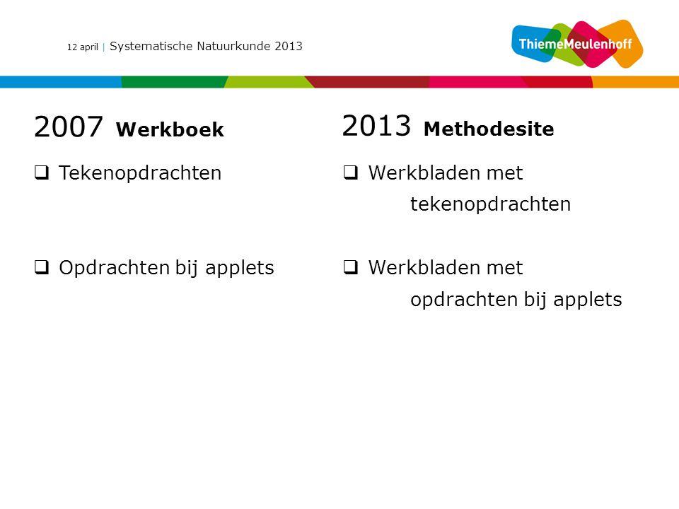 12 april | Systematische Natuurkunde 2013 2007 Werkboek 2013 Methodesite  Tekenopdrachten  Opdrachten bij applets  Werkbladen met tekenopdrachten 