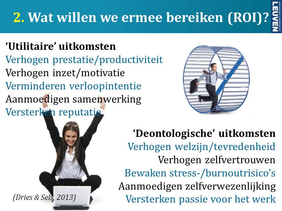 y 2. Wat willen we ermee bereiken (ROI)? 'Utilitaire' uitkomsten Verhogen prestatie/productiviteit Verhogen inzet/motivatie Verminderen verloopintenti