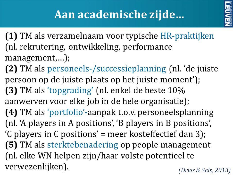 y Aan academische zijde… (Dries & Sels, 2013) (1) TM als verzamelnaam voor typische HR-praktijken (nl. rekrutering, ontwikkeling, performance manageme