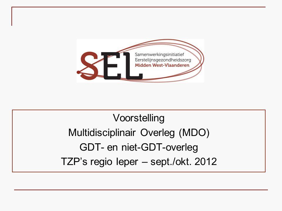 LIJST ORGANISATOREN MDO   SEL MWVL heeft lijsten van organisatoren MDO (www.selwvl.be → Midden West-Vlaanderen → Overleg in de Thuiszorg → Organisatie Overleg)www.selwvl.be   Er wordt een onderscheid gemaakt tussen   Betrokken (zorgaanbieder als) organisator   Externe organisator