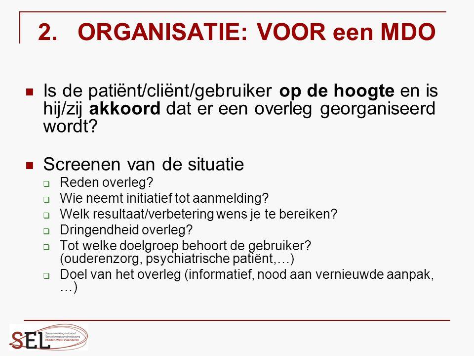 2. ORGANISATIE: VOOR een MDO Is de patiënt/cliënt/gebruiker op de hoogte en is hij/zij akkoord dat er een overleg georganiseerd wordt? Screenen van de