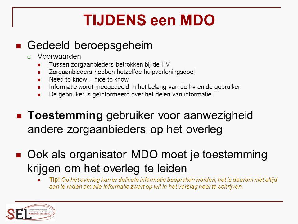 TIJDENS een MDO Gedeeld beroepsgeheim  Voorwaarden Tussen zorgaanbieders betrokken bij de HV Zorgaanbieders hebben hetzelfde hulpverleningsdoel Need