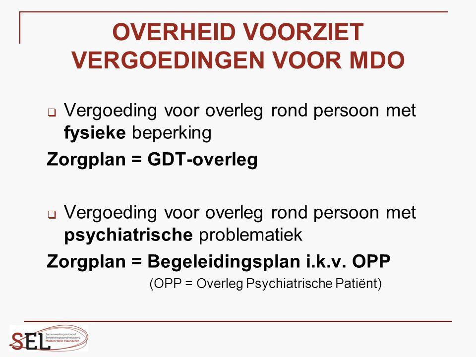 OVERHEID VOORZIET VERGOEDINGEN VOOR MDO  Vergoeding voor overleg rond persoon met fysieke beperking Zorgplan = GDT-overleg  Vergoeding voor overleg