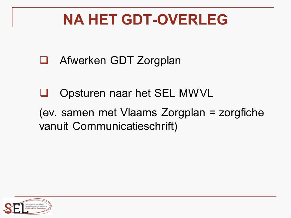 NA HET GDT-OVERLEG  Afwerken GDT Zorgplan  Opsturen naar het SEL MWVL (ev. samen met Vlaams Zorgplan = zorgfiche vanuit Communicatieschrift)