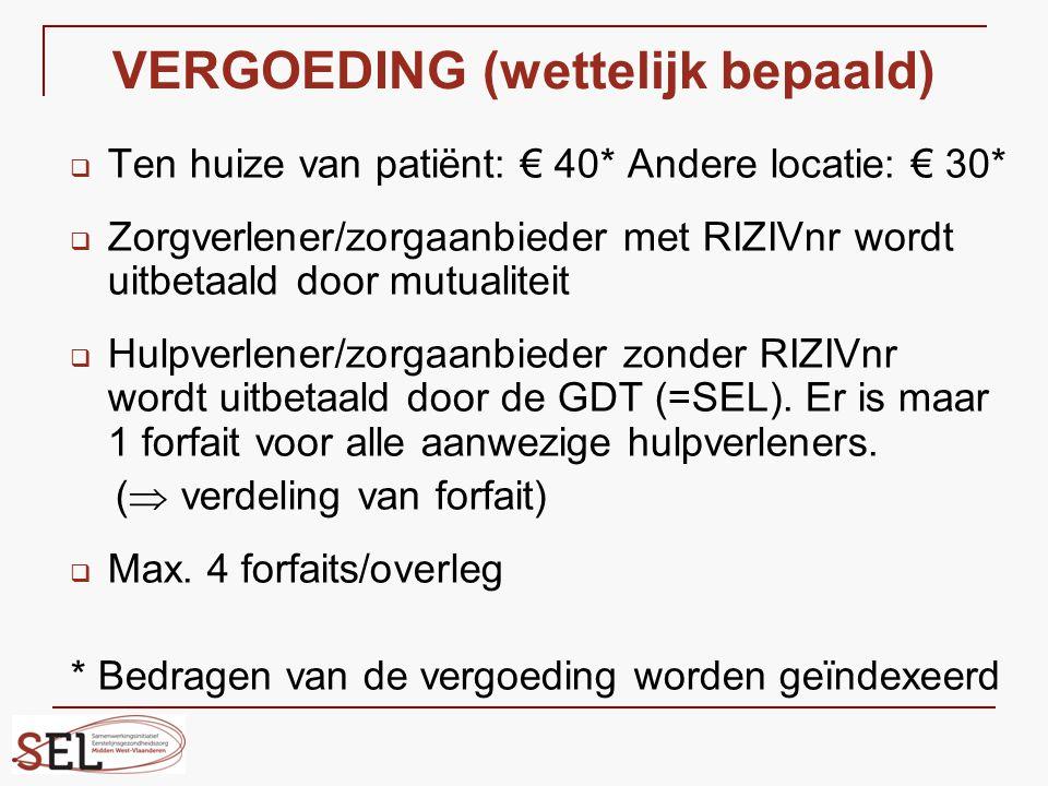 VERGOEDING (wettelijk bepaald)  Ten huize van patiënt: € 40* Andere locatie: € 30*  Zorgverlener/zorgaanbieder met RIZIVnr wordt uitbetaald door mut