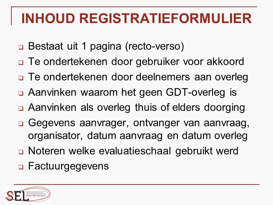INHOUD REGISTRATIEFORMULIER  Bestaat uit 1 pagina (recto-verso)  Te ondertekenen door gebruiker voor akkoord  Te ondertekenen door deelnemers aan o