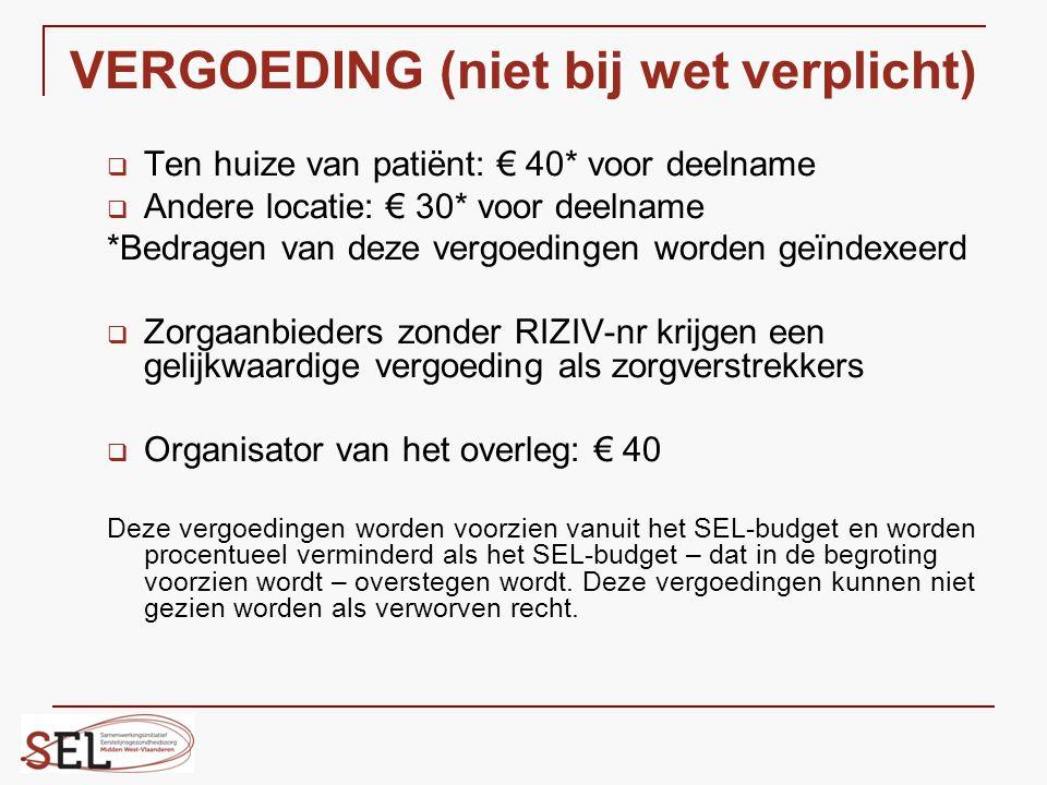 VERGOEDING (niet bij wet verplicht)  Ten huize van patiënt: € 40* voor deelname  Andere locatie: € 30* voor deelname *Bedragen van deze vergoedingen
