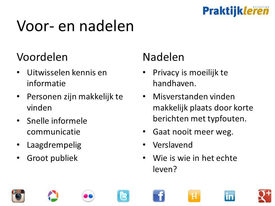 Voor- en nadelen Voordelen Uitwisselen kennis en informatie Personen zijn makkelijk te vinden Snelle informele communicatie Laagdrempelig Groot publiek Nadelen Privacy is moeilijk te handhaven.