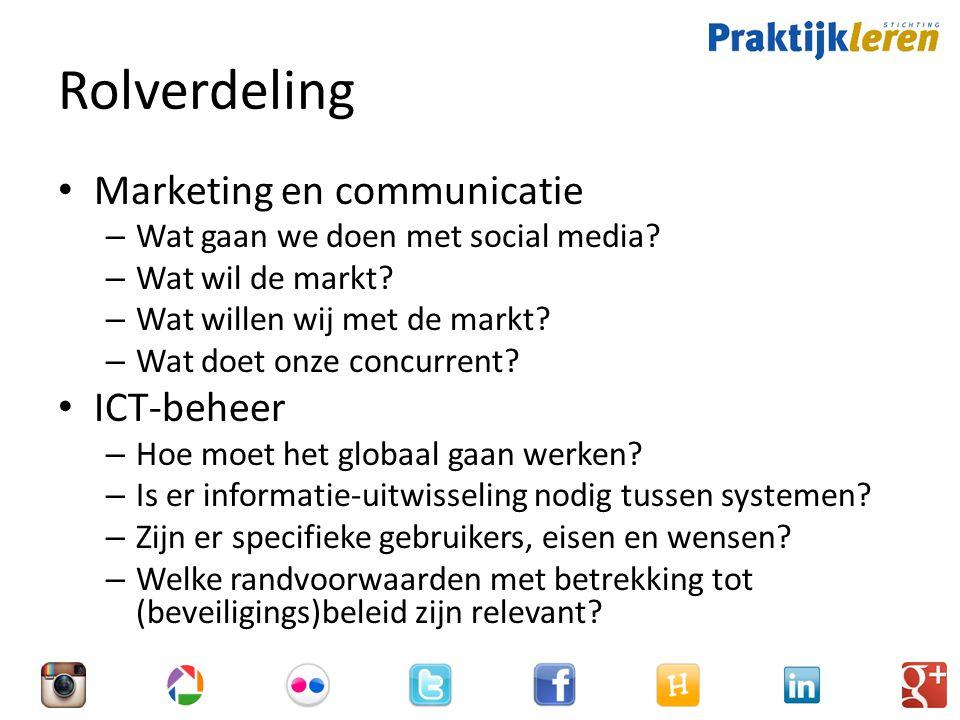 Rolverdeling Marketing en communicatie – Wat gaan we doen met social media.