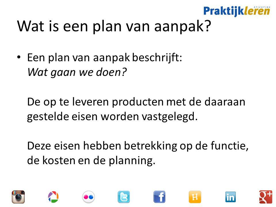 Wat is een plan van aanpak.Een plan van aanpak beschrijft: Wat gaan we doen.