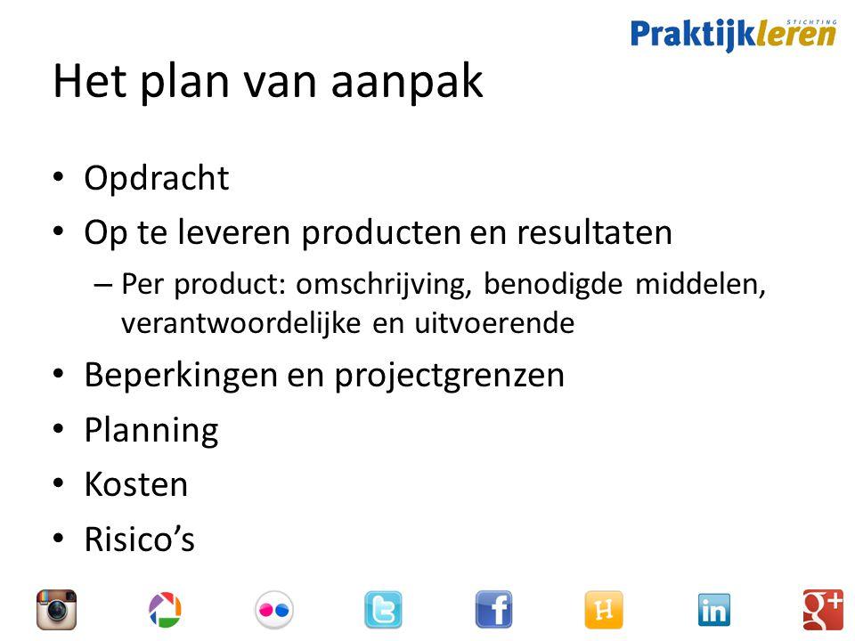 Het plan van aanpak Opdracht Op te leveren producten en resultaten – Per product: omschrijving, benodigde middelen, verantwoordelijke en uitvoerende Beperkingen en projectgrenzen Planning Kosten Risico's