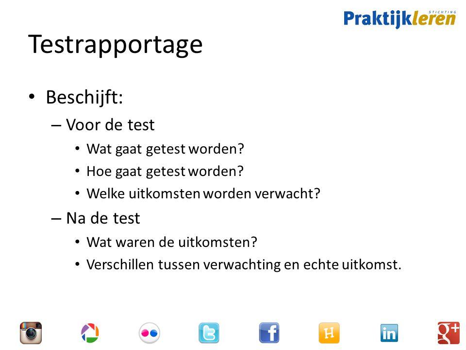Testrapportage Beschijft: – Voor de test Wat gaat getest worden.