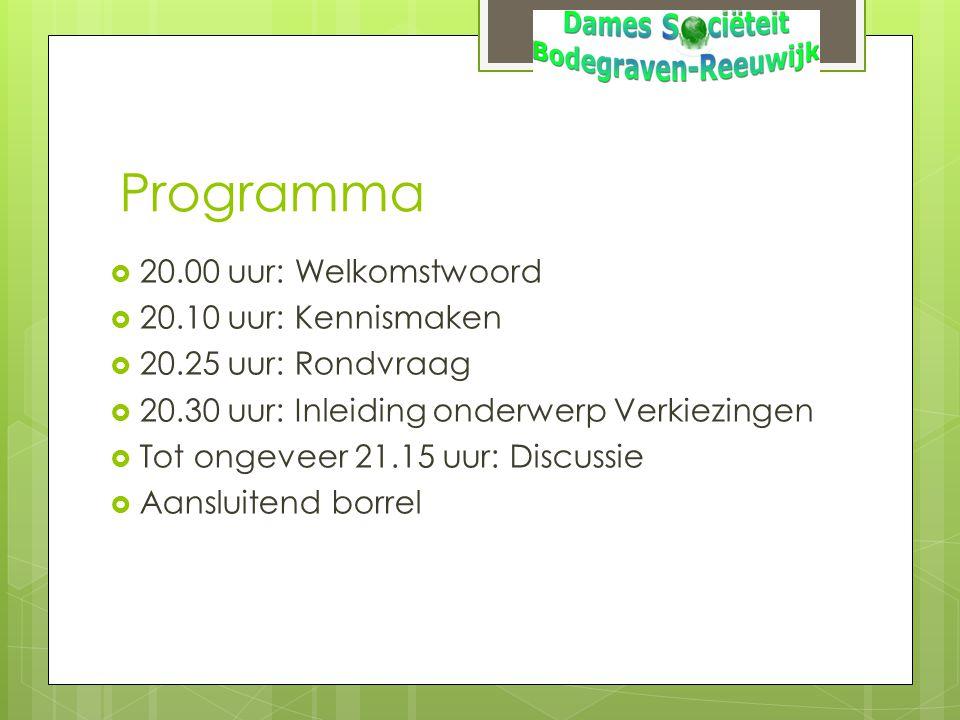 Programma  20.00 uur: Welkomstwoord  20.10 uur: Kennismaken  20.25 uur: Rondvraag  20.30 uur: Inleiding onderwerp Verkiezingen  Tot ongeveer 21.1
