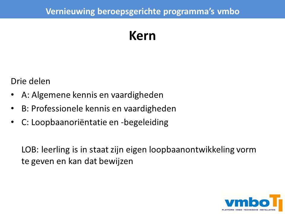 Kern Drie delen A: Algemene kennis en vaardigheden B: Professionele kennis en vaardigheden C: Loopbaanoriëntatie en -begeleiding LOB: leerling is in s