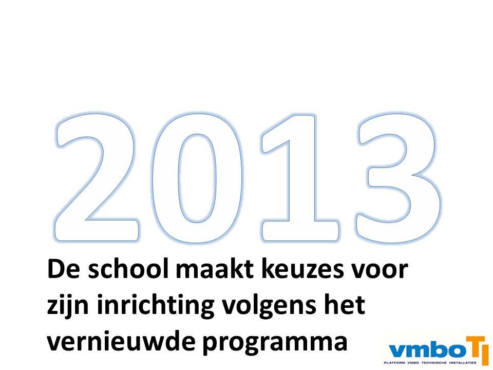 Instroom 3 e jaar vmbo Examen vmbo –> doorstroom mbo Examen mbo n2 –> arbeidsmarkt De school maakt keuzes voor zijn inrichting volgens het vernieuwde