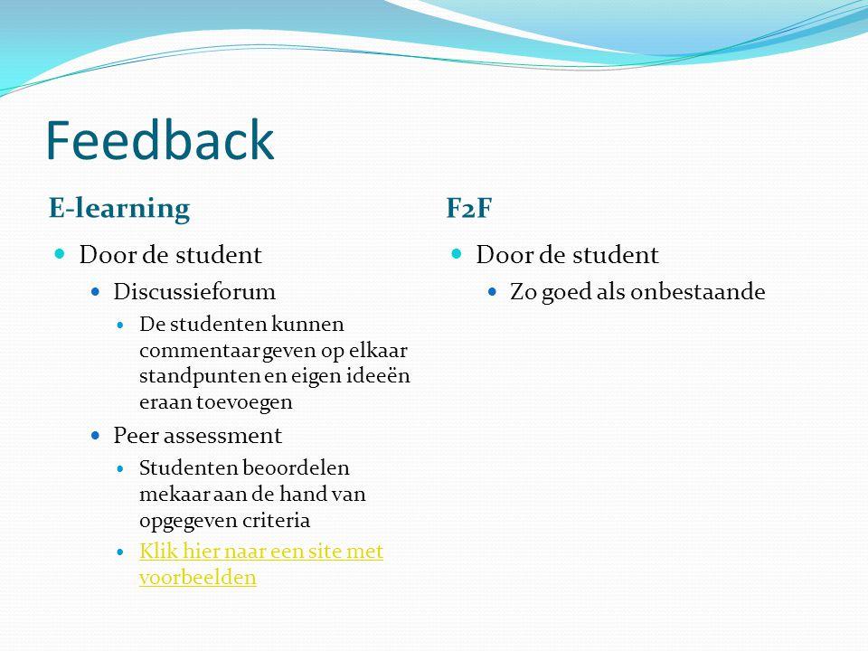 Feedback E-learning F2F Door de student Discussieforum De studenten kunnen commentaar geven op elkaar standpunten en eigen ideeën eraan toevoegen Peer