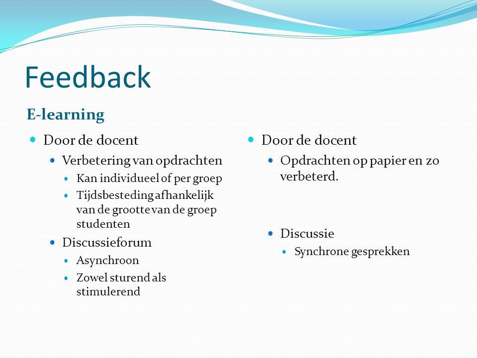 Feedback E-learning Door de docent Verbetering van opdrachten Kan individueel of per groep Tijdsbesteding afhankelijk van de grootte van de groep stud