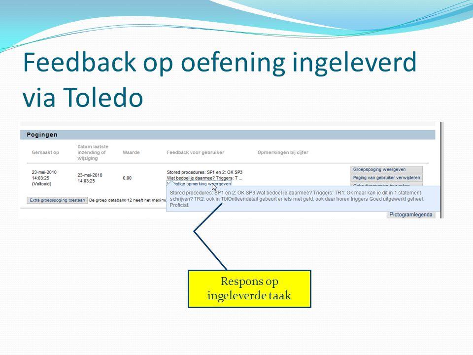 Feedback op oefening ingeleverd via Toledo Respons op ingeleverde taak