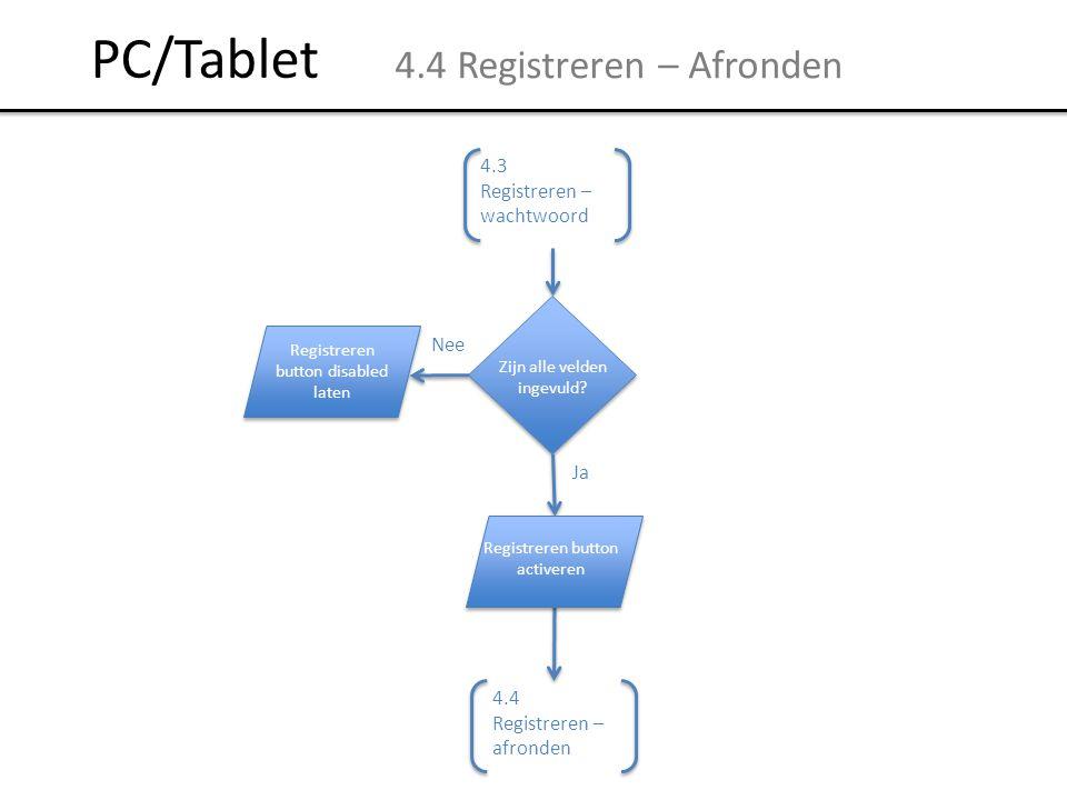 PC/Tablet 4.4 Registreren – Afronden Wachtwoord is herhaald Nee Ja 4.4 Registreren – afronden 4.3 Registreren – wachtwoord Zijn alle velden ingevuld?