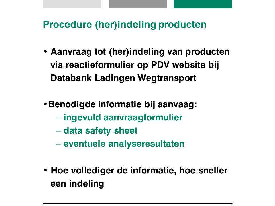 Procedure (her)indeling producten Aanvraag tot (her)indeling van producten via reactieformulier op PDV website bij Databank Ladingen Wegtransport Beno