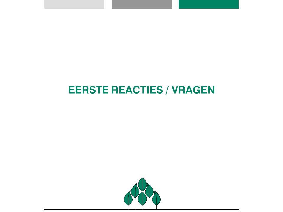 EERSTE REACTIES / VRAGEN