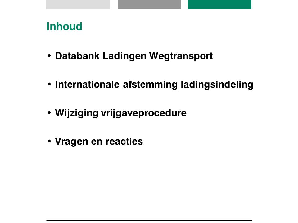 Inhoud Databank Ladingen Wegtransport Internationale afstemming ladingsindeling Wijziging vrijgaveprocedure Vragen en reacties