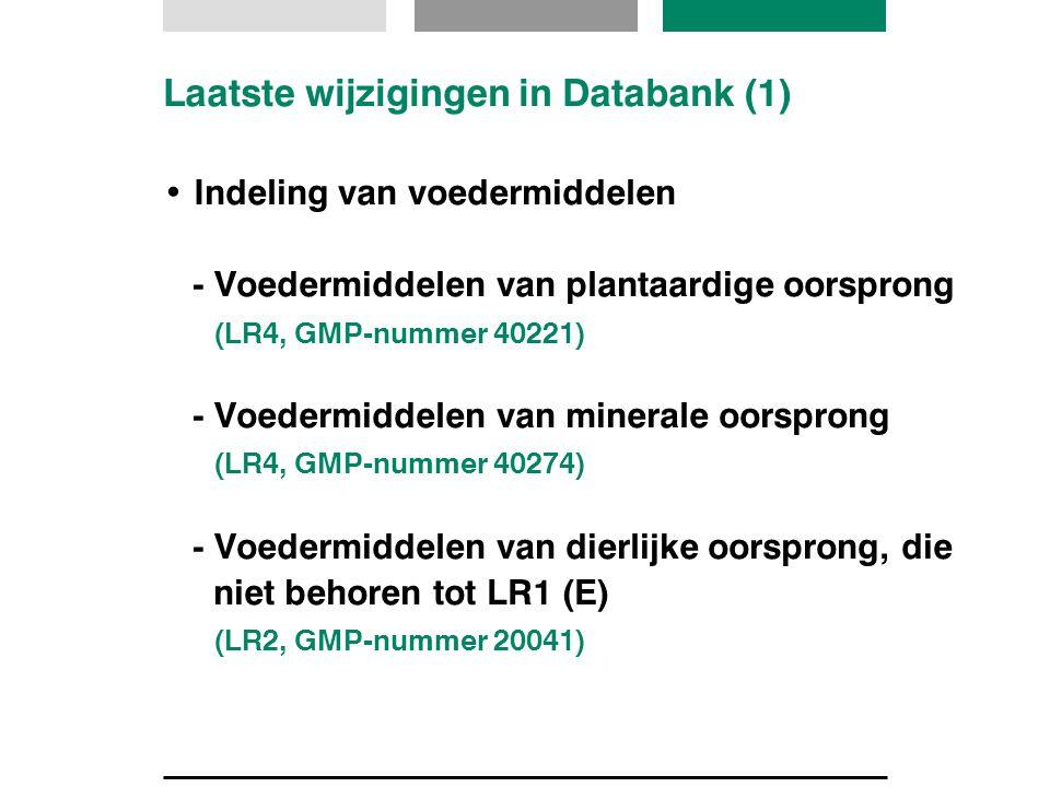 Laatste wijzigingen in Databank (1) Indeling van voedermiddelen - Voedermiddelen van plantaardige oorsprong (LR4, GMP-nummer 40221) - Voedermiddelen v