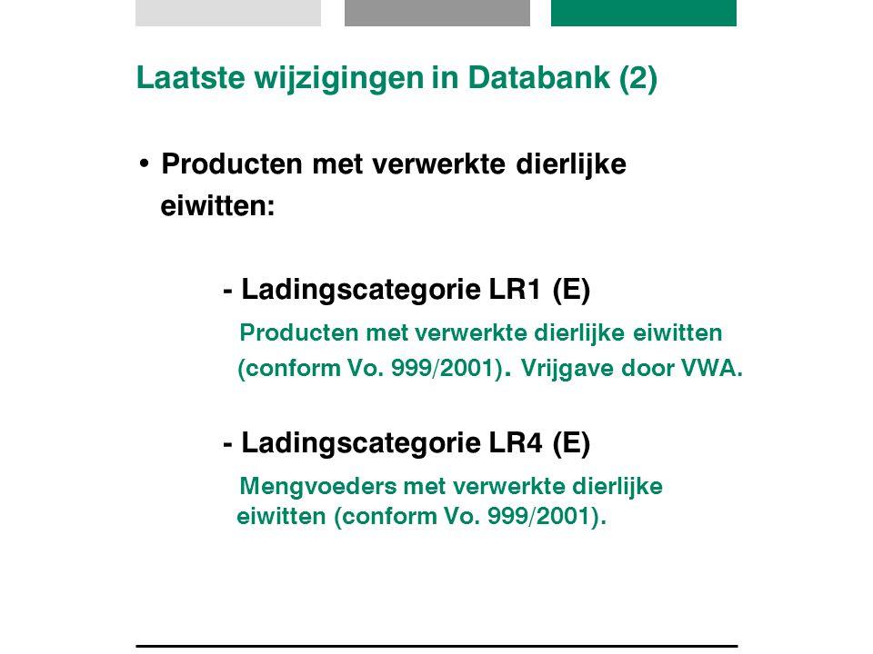 Laatste wijzigingen in Databank (2) Producten met verwerkte dierlijke eiwitten: - Ladingscategorie LR1 (E) Producten met verwerkte dierlijke eiwitten