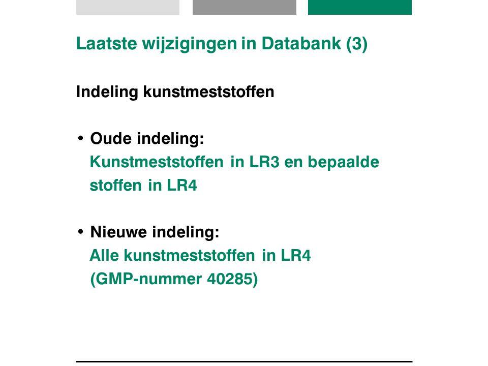 Laatste wijzigingen in Databank (3) Indeling kunstmeststoffen Oude indeling: Kunstmeststoffen in LR3 en bepaalde stoffen in LR4 Nieuwe indeling: Alle