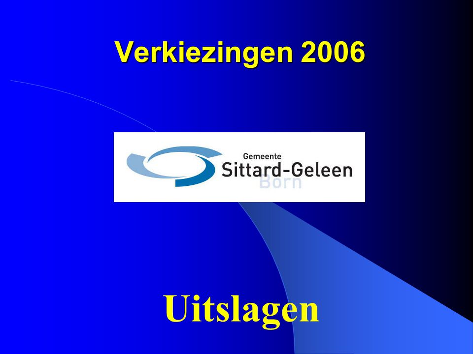 Verkiezingen 2006 2000: 1760 2006: 1649 Nr. 2 Lijst 3 Berry Rijswijk (Sittard)