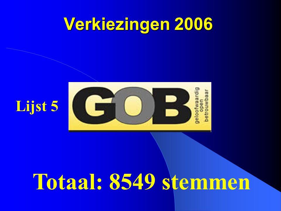 Verkiezingen 2006 Totaal: 8549 stemmen Lijst 5