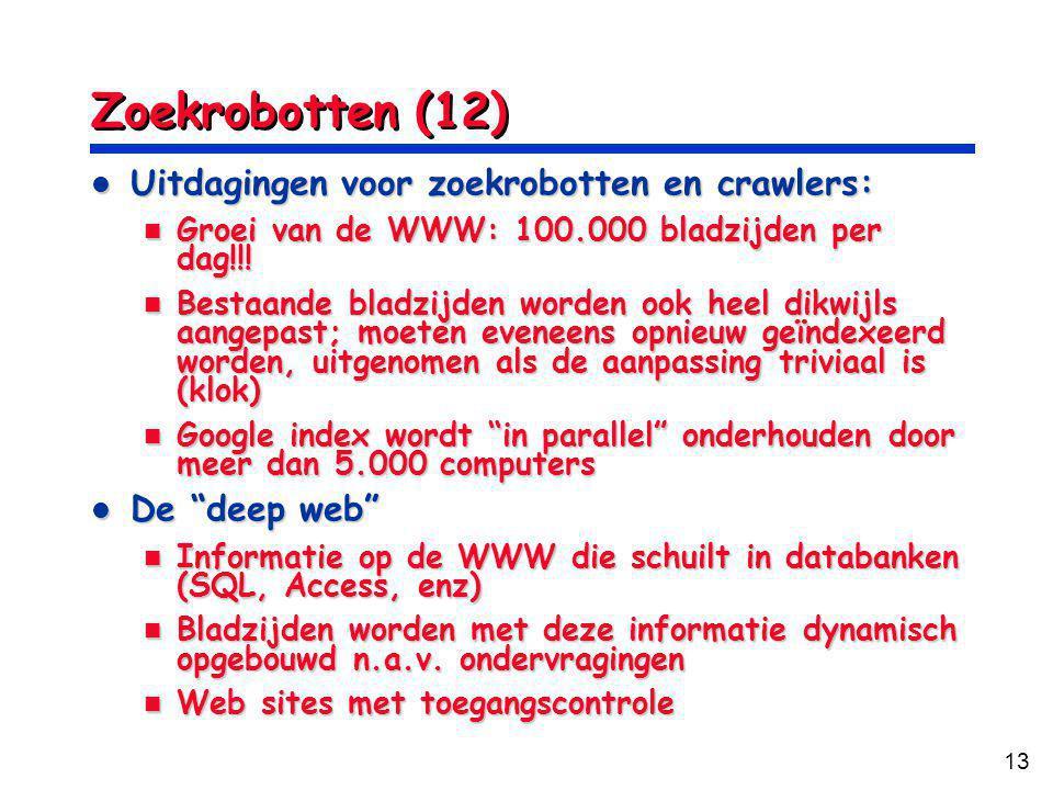 13 Zoekrobotten (12) Uitdagingen voor zoekrobotten en crawlers: Uitdagingen voor zoekrobotten en crawlers: Groei van de WWW: 100.000 bladzijden per dag!!.