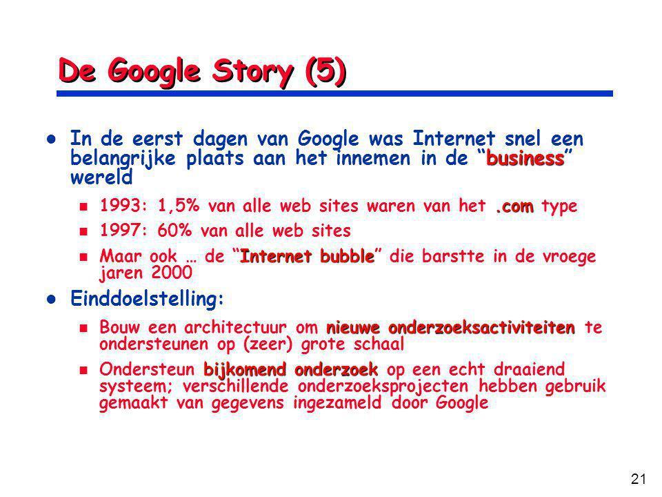 21 De Google Story (5) In de eerst dagen van Google was Internet snel een belangrijke plaats aan het innemen in de business wereld In de eerst dagen van Google was Internet snel een belangrijke plaats aan het innemen in de business wereld 1993: 1,5% van alle web sites waren van het.com type 1993: 1,5% van alle web sites waren van het.com type 1997: 60% van alle web sites 1997: 60% van alle web sites Maar ook … de Internet bubble die barstte in de vroege jaren 2000 Maar ook … de Internet bubble die barstte in de vroege jaren 2000 Einddoelstelling: Einddoelstelling: Bouw een architectuur om nieuwe onderzoeksactiviteiten te ondersteunen op (zeer) grote schaal Bouw een architectuur om nieuwe onderzoeksactiviteiten te ondersteunen op (zeer) grote schaal Ondersteun bijkomend onderzoek op een echt draaiend systeem; verschillende onderzoeksprojecten hebben gebruik gemaakt van gegevens ingezameld door Google Ondersteun bijkomend onderzoek op een echt draaiend systeem; verschillende onderzoeksprojecten hebben gebruik gemaakt van gegevens ingezameld door Google