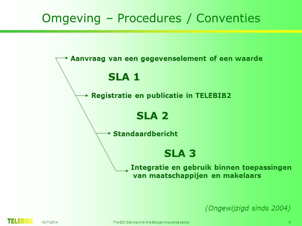 13-7-2014 The EDI Standard for the Belgian Insurance sector 6 Omgeving – Procedures / Conventies Aanvraag van een gegevenselement of een waarde Registratie en publicatie in TELEBIB2 Standaardbericht Integratie en gebruik binnen toepassingen van maatschappijen en makelaars SLA 1 SLA 2 SLA 3 (Ongewijzigd sinds 2004)