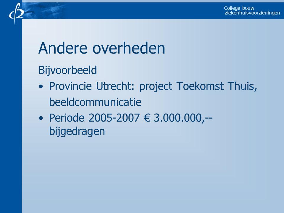 College bouw ziekenhuisvoorzieningen Andere overheden Bijvoorbeeld Provincie Utrecht: project Toekomst Thuis, beeldcommunicatie Periode 2005-2007 € 3.000.000,-- bijgedragen