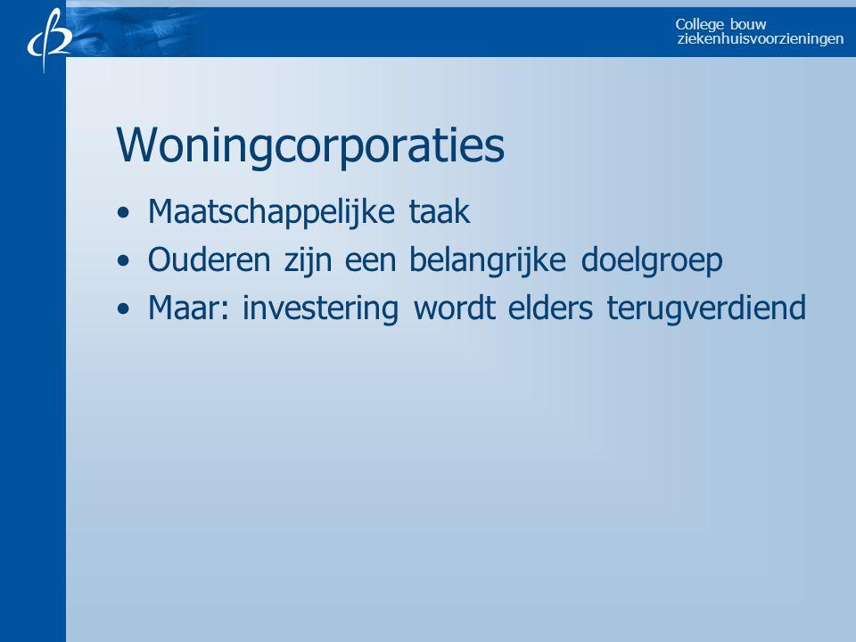 College bouw ziekenhuisvoorzieningen Woningcorporaties Maatschappelijke taak Ouderen zijn een belangrijke doelgroep Maar: investering wordt elders ter