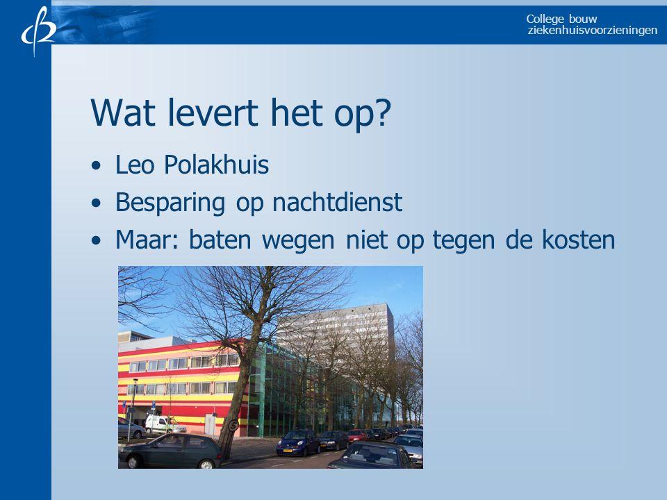 College bouw ziekenhuisvoorzieningen Wat levert het op.