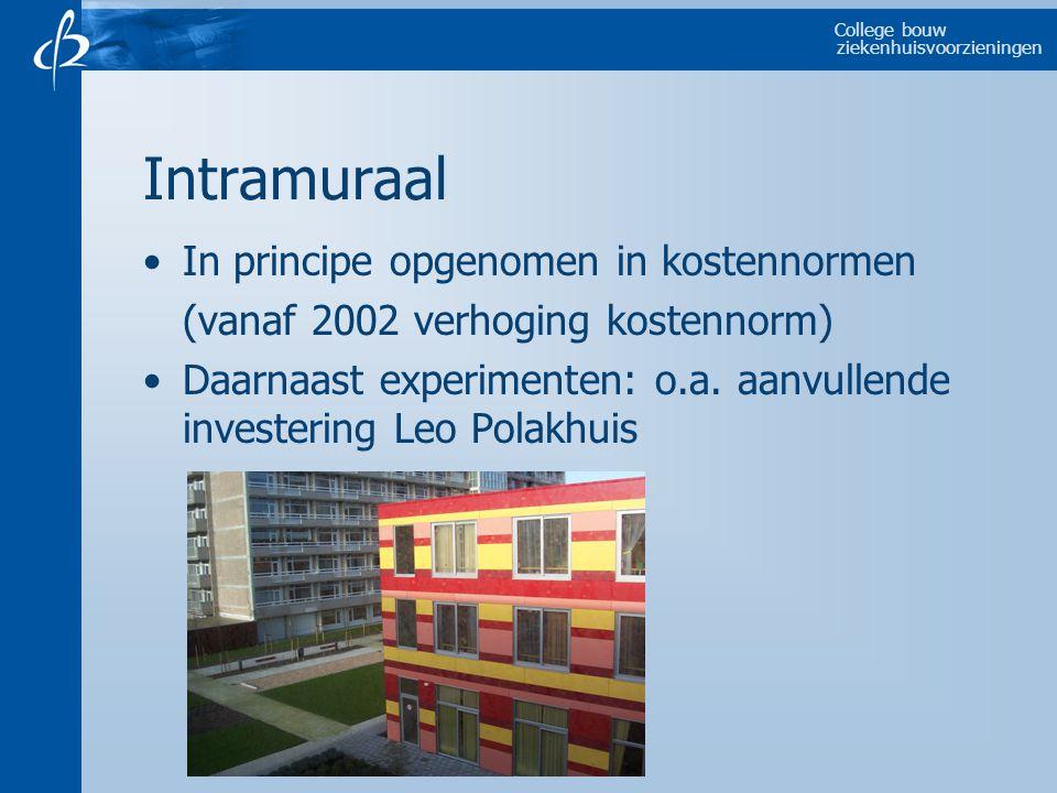 College bouw ziekenhuisvoorzieningen Intramuraal In principe opgenomen in kostennormen (vanaf 2002 verhoging kostennorm) Daarnaast experimenten: o.a.