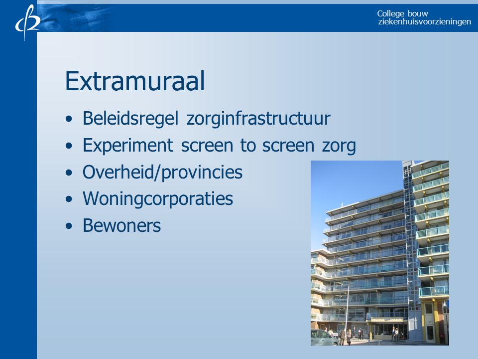 College bouw ziekenhuisvoorzieningen Extramuraal Beleidsregel zorginfrastructuur Experiment screen to screen zorg Overheid/provincies Woningcorporaties Bewoners