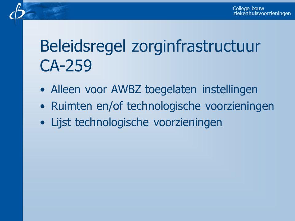 College bouw ziekenhuisvoorzieningen Beleidsregel zorginfrastructuur CA-259 Alleen voor AWBZ toegelaten instellingen Ruimten en/of technologische voorzieningen Lijst technologische voorzieningen