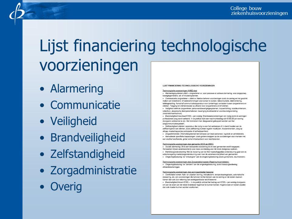 College bouw ziekenhuisvoorzieningen Lijst financiering technologische voorzieningen Alarmering Communicatie Veiligheid Brandveiligheid Zelfstandigheid Zorgadministratie Overig