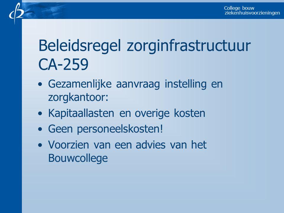 College bouw ziekenhuisvoorzieningen Gezamenlijke aanvraag instelling en zorgkantoor: Kapitaallasten en overige kosten Geen personeelskosten! Voorzien