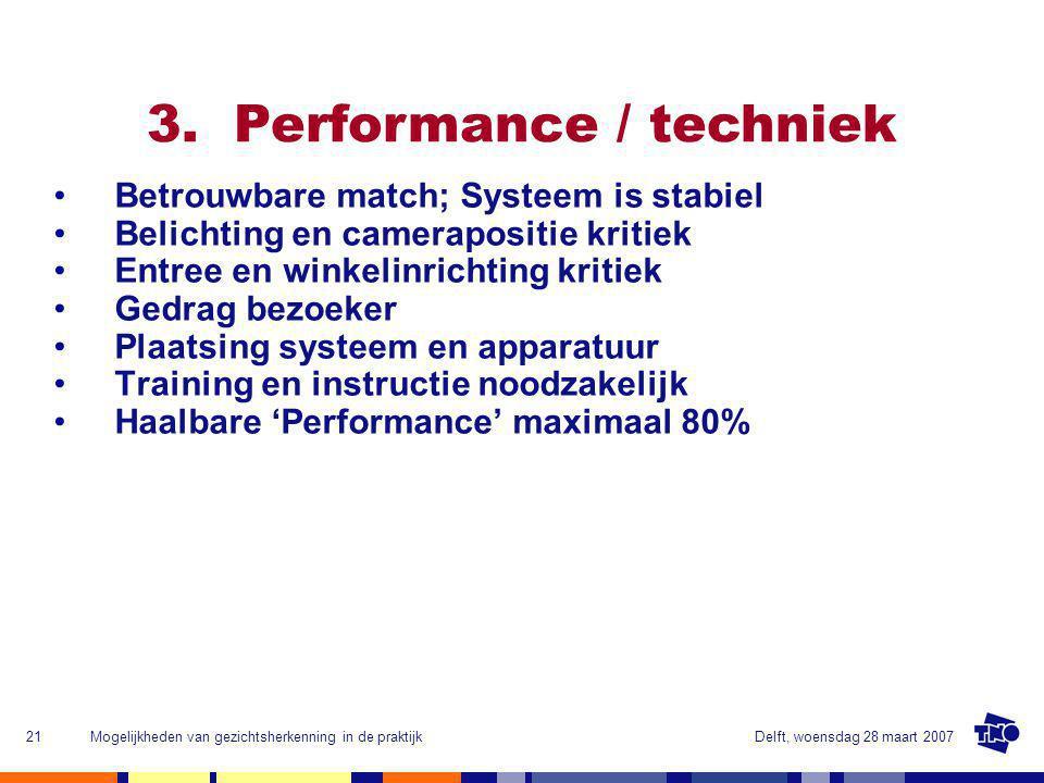 Delft, woensdag 28 maart 2007Mogelijkheden van gezichtsherkenning in de praktijk21 3.